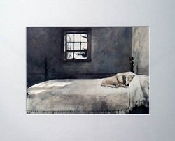 Master Bedroom Matted Art Print by Andrew Wyeth
