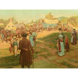 Conestoga Wagon Large Art Print by Howard Pyle