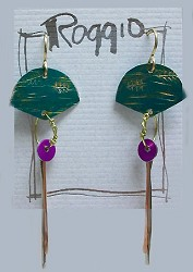 Colored Aluminum Fan Earring With Wire Dangles