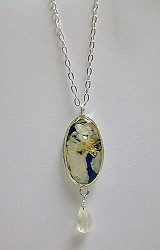 White Larkspur Small Oval Necklace on Chain with Drop
