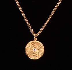 "Millstone Pendant S/S Gold Plated with CZ and 20"" chain"
