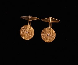 Small Millstone Cufflink S/S Gold Plated with CZ