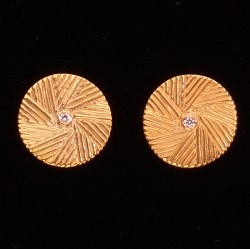 Small Millstone Post Earring S/S Gold Plated with CZ