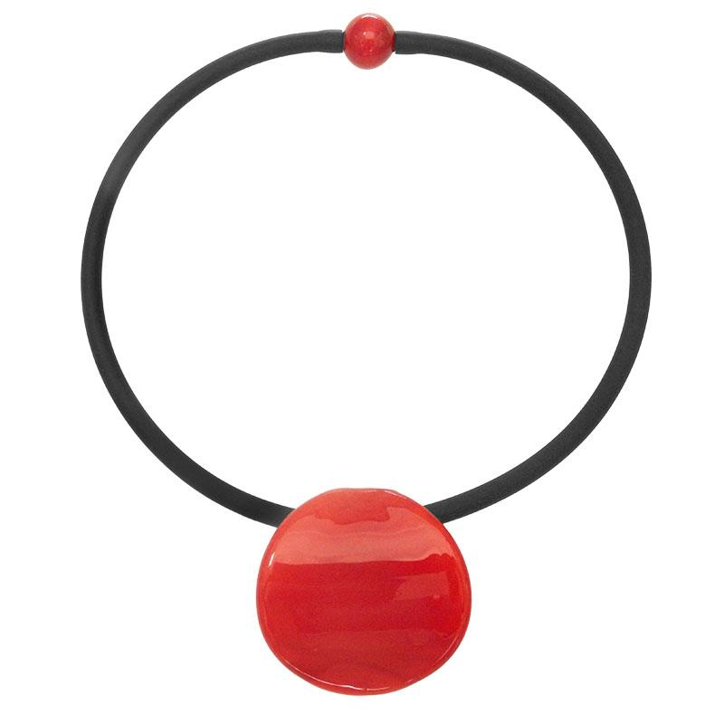 Red/Black Disco Murano Glass Necklace,JC-280-D10