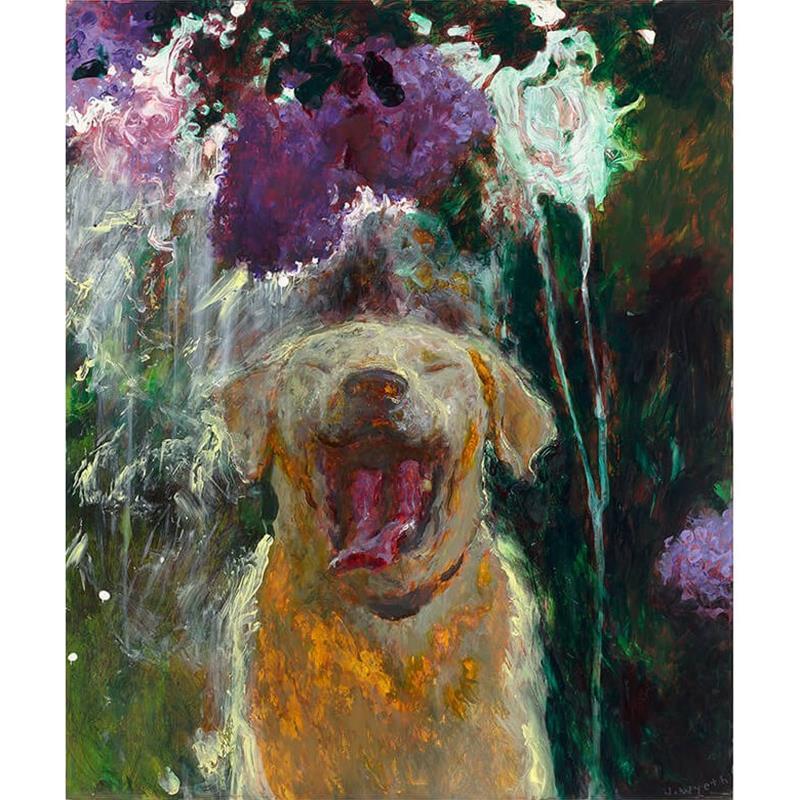 Dog Under Lilacs art reproduction,65858
