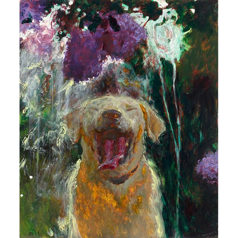 Dog Under Lilacs In a Downpour Art Print by Jamie Wyeth,65858