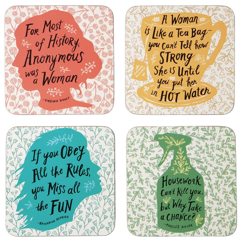 Feisty Feminine Coaster Set,QUCOA01